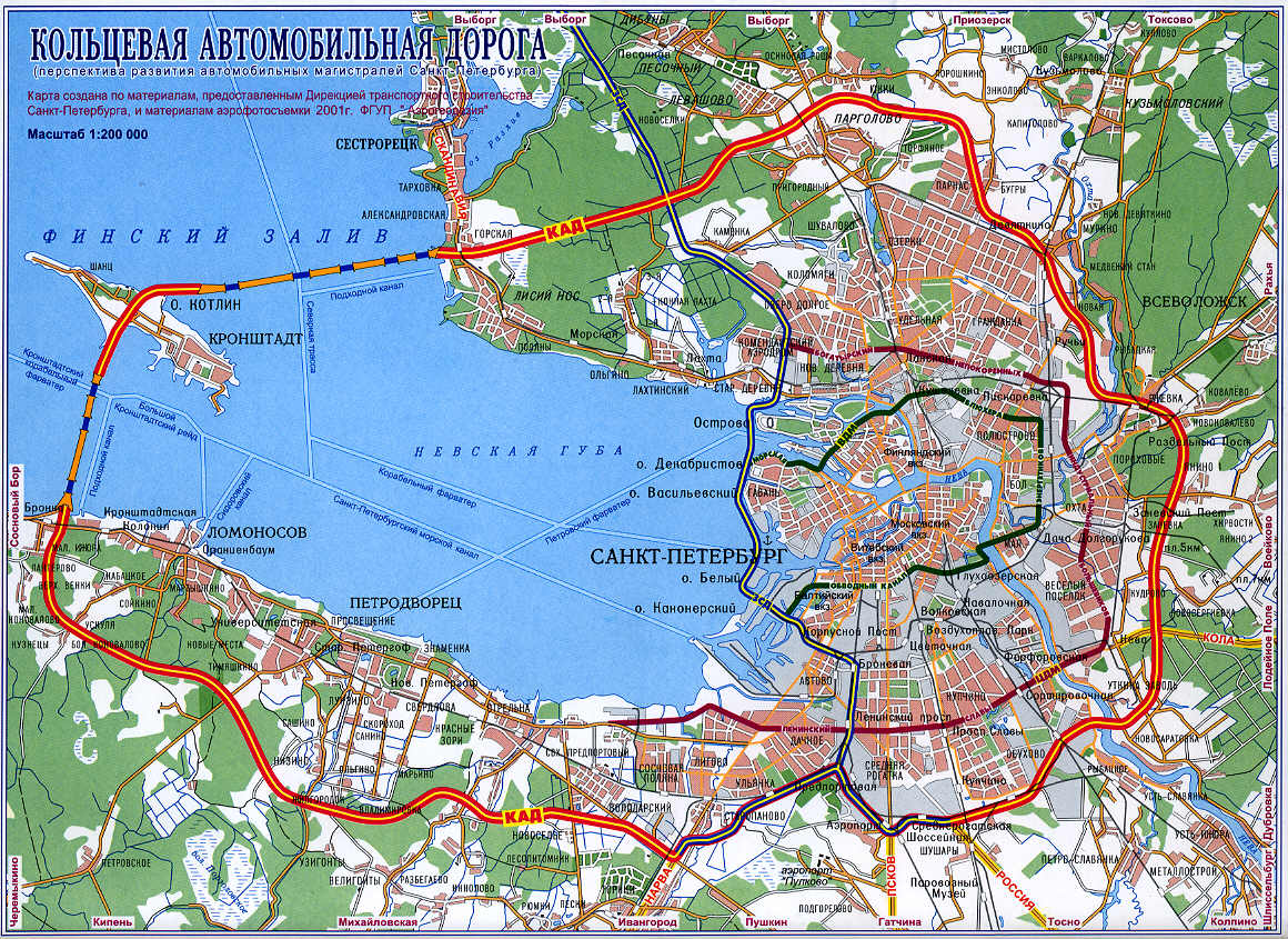 Схема кольцевой санкт петербурга